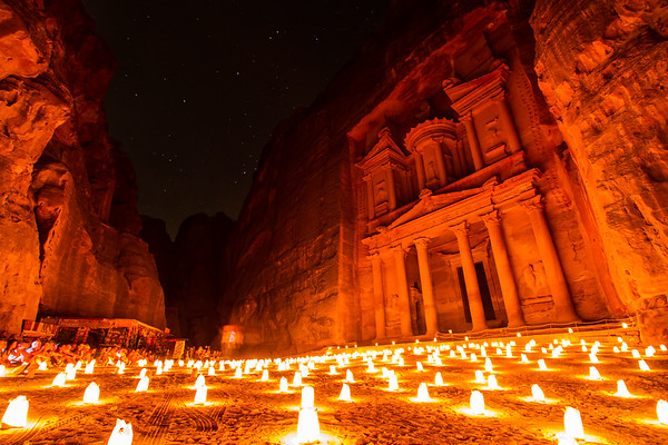 The Treasury At Petra By Candle Light, Petra, Jordan