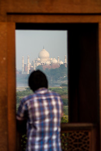 Man looking at Taj Mahal - Agra - Uttar Pradesh - Asia - India