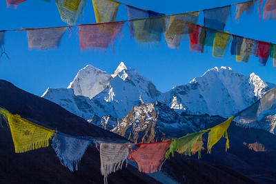 Thamserku and Kantega Through Prayer Flags, Dingboche, Nepal