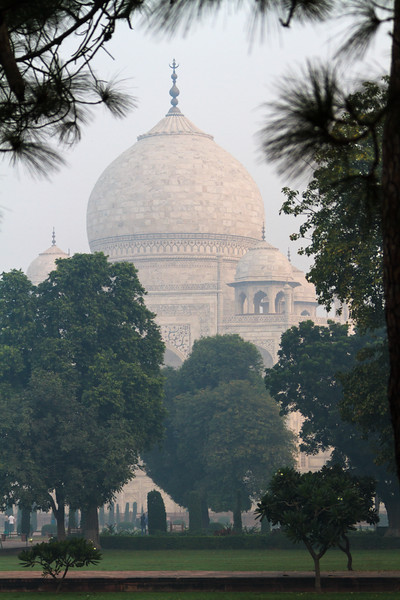 The dome of the Taj Mahal as seen from the side, framed in tres