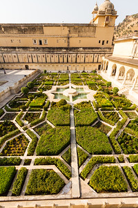 Formal garden at Amer Fort - Asia - India - Rajasthan - Jaipur