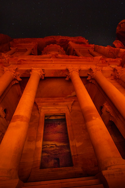 Looking Up At The Candlelit Treasury (Al Khazneh), Petra, Jordan