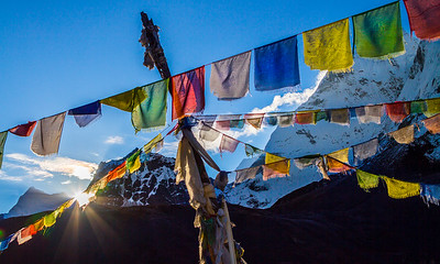 Prayer Flags At Sunrise, Dingboche, Nepal