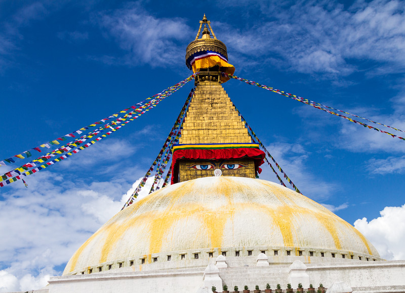 Low angle view of Boudhanath temple - Nepal