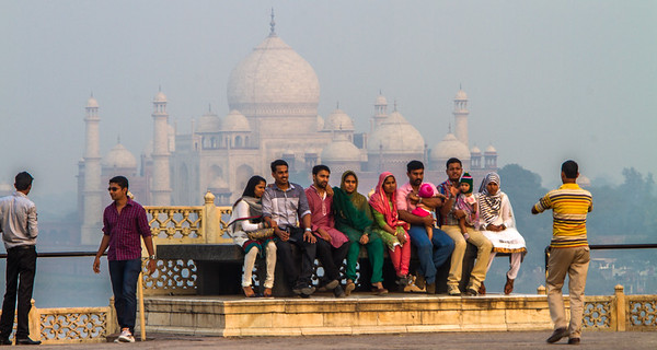 Tourist taking photographs at Taj Mahal - Agra - Uttar Pradesh - Asia - India