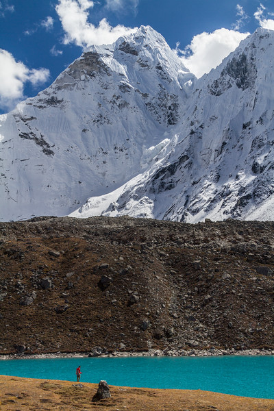 Man standing in front of Gokyo Lake and Ama Dablam - Nepal