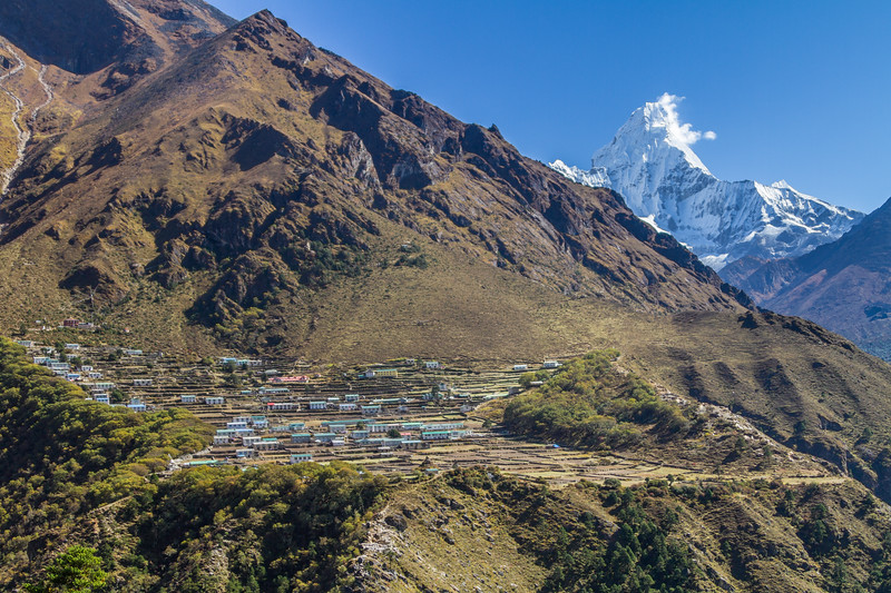 The Himalayan Village Of Phortse Sits Beneath Ama Dablam, Nepal, Asia
