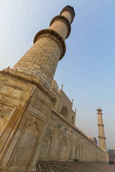 Low Angle Shot Of Taj Mahal and Minaret, Agra, India, Asia