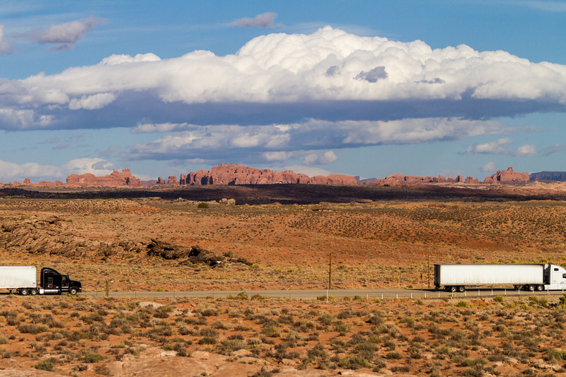 Articulated lorry passing through landscape - Utah - USA