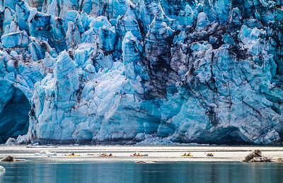 Kayakers In Front Of Lamplugh Glacier, Glacier Bay National Park, Alaska, USA