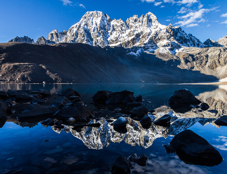 The Machermo peaks are reflected in Gokyo Lake, Himalayas, Nepal
