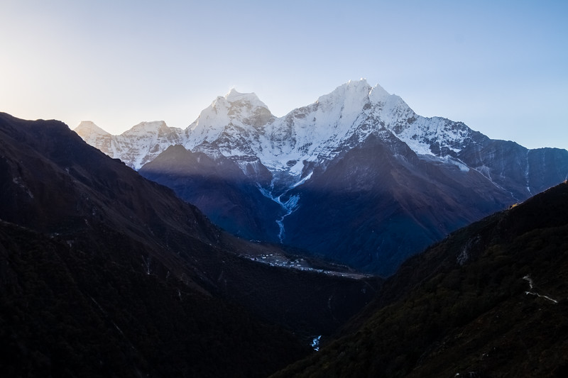 Phortse, Kangtega and Thamserku At Dawn, Nepal, Himalayas, Asia