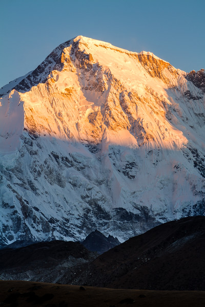 Cho Oyu, the sixth highest mountain in the world, bathed in morning light, Gokyo, Nepal