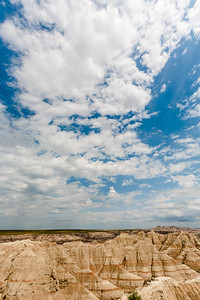 Badlands National Park and clouds, South Dakota, USA