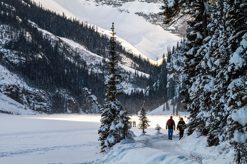 Tourists walking in snow - Canada