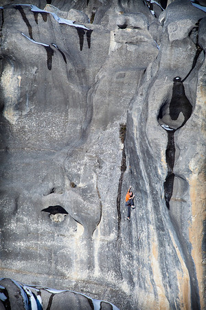 It might not climb like a classic, but it looks like one from a distance. John Palmer on the thin Fearnley route Subculture (24).