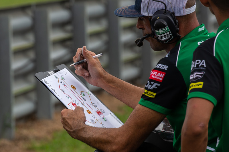 The SAG Team Moto2 rider coach Alex Debon at the 2019 Sepang round of MotoGP