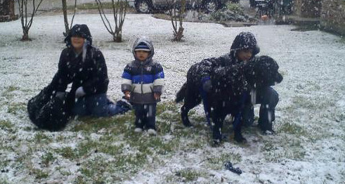 A fun shot of Miller enjoying the snow with his family.
