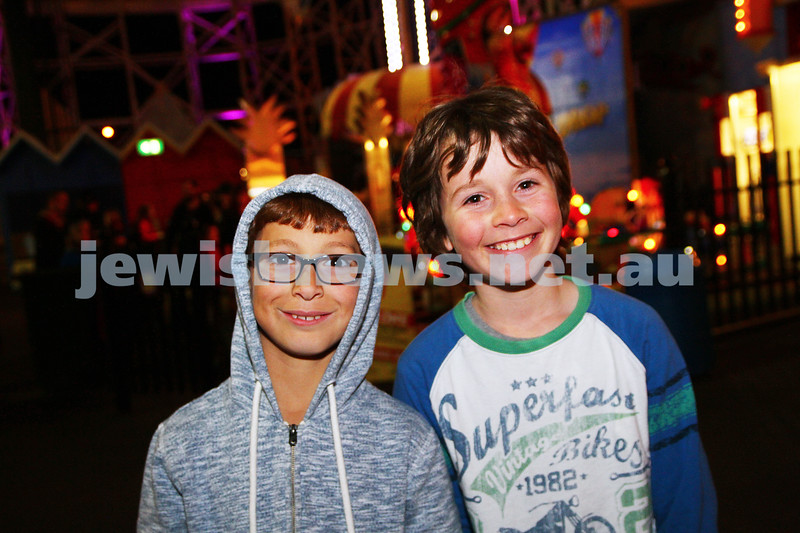 30-9-15. Chabad Youth annual Succot at Luna Park. Jarrad Raitman (left), Boaz Gore. Photo: Peter Haskin