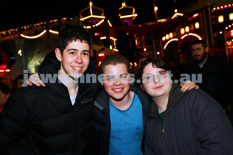 30-9-15. Chabad Youth annual Succot at Luna Park. From left: Ilan Janet, Gav Watts, Ari Kornhauser. Photo: Peter Haskin