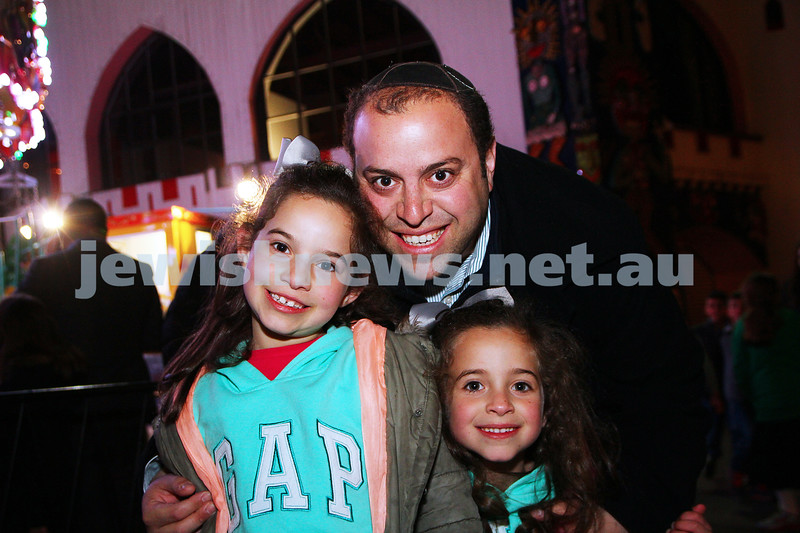 30-9-15. Chabad Youth annual Succot at Luna Park. From left: Mia,  Joey and Suri Eckstein. Photo: Peter Haskin