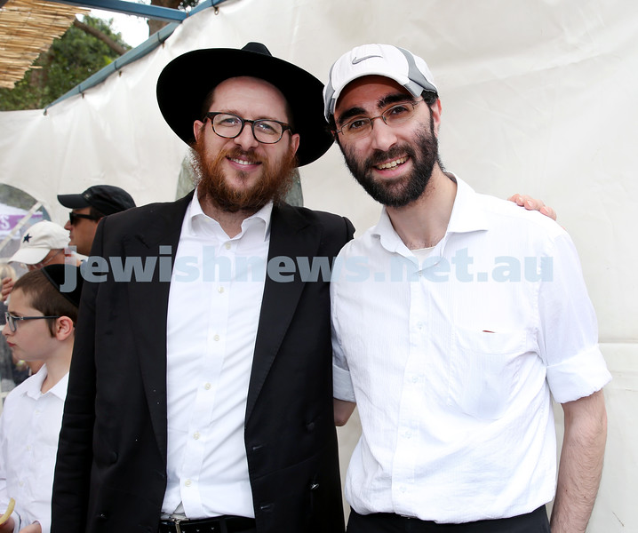 Succot at Taronga Zoo. Rabbi Aron Moss (left), Rabbi Benjy Simons. Pic Noel Kessel