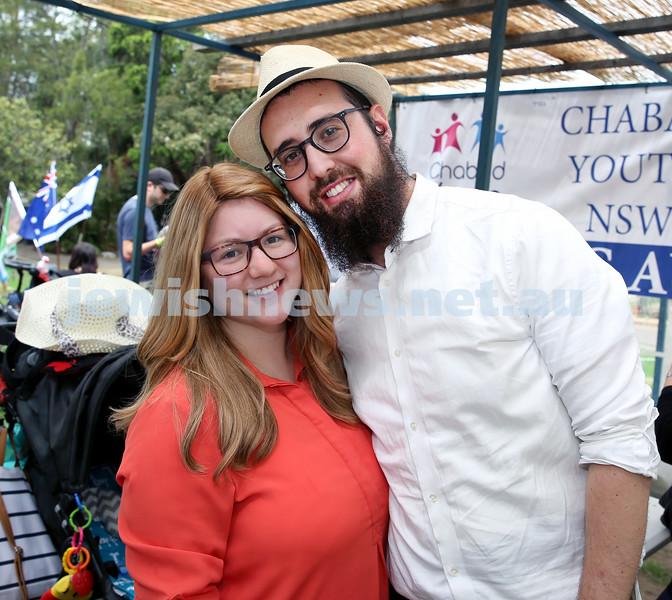 Succot at Taronga Zoo. Lian and Rabbi Danny Winterfield. Pic Noel Kessel