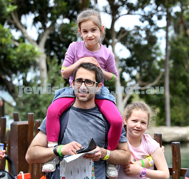Succot at Taronga Zoo. Danny Friedman with his daughters Livi and Mia. Pic Noel Kessel