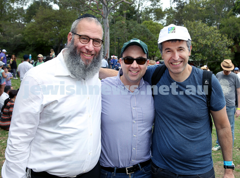 Succot at Taronga Zoo. From left: Rabbi Mendel Kastel, Yigal Nisell, Dan Springer. Pic Noel Kessel