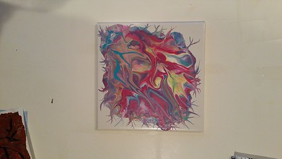 'My Beating Heart'  Paint pour with bamboo stick pull