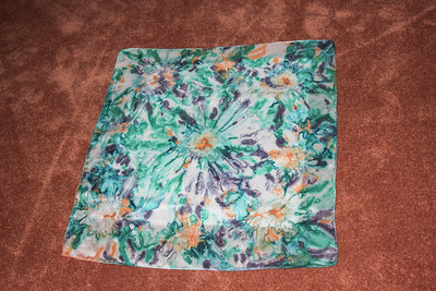 This is a hand painted silk scarf that I thought would make a beautiful pillow cover. I would wear this , as well.
