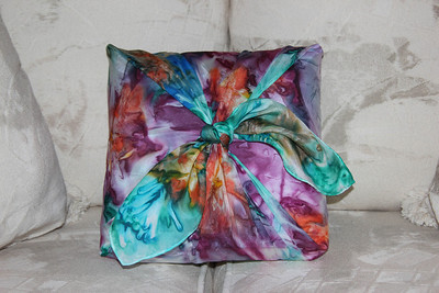 "This is a 30"" x 30"" square hand painted silk scarf that I used as a decorative pillow cover. You can use it this way or easily untie it and use it as a scarf."