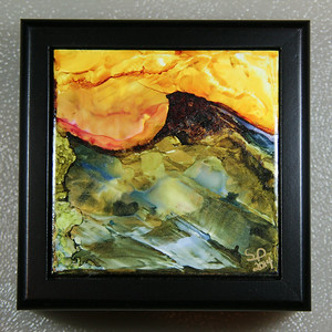 Part of my ' Illucinations Collection'  of hand painted tiles using alcohol inks. This landscape design was made using straws, coffee stirrers, and the edges of a credit card.