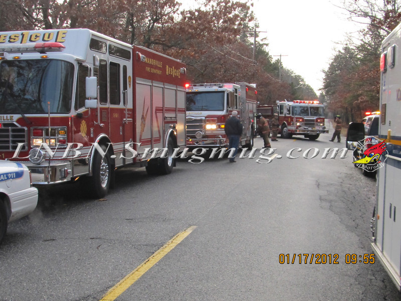 Manorville F D  Car into Woods  Schultz Rd 1-17-12-3