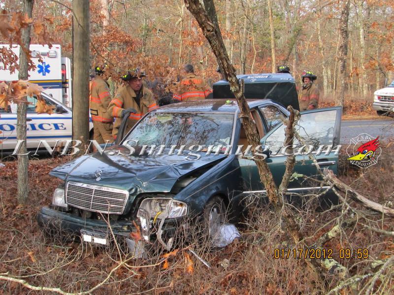 Manorville F D  Car into Woods  Schultz Rd 1-17-12-8