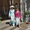 Mummy and Liz modelling for the fashion show in the church