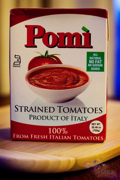 A secret weapon in the Sugar + Shake arsenal: Pomì strained tomatoes. They're boxed, ready to go, and the only ingredient in there? Tomatoes. © 2012 Sugar + Shake