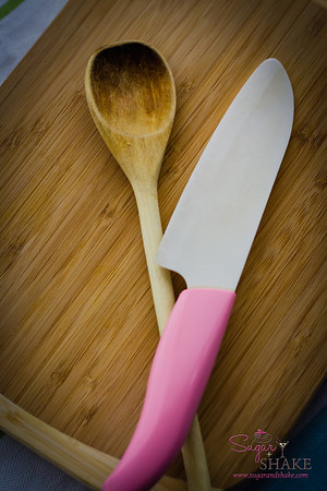 Favorite tools. Sugar loves this wooden spoon and ceramic knife. © 2013 Sugar + Shake