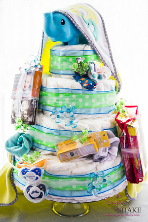 One diaper cake, baked to perfection! © 2014 Sugar + Shake