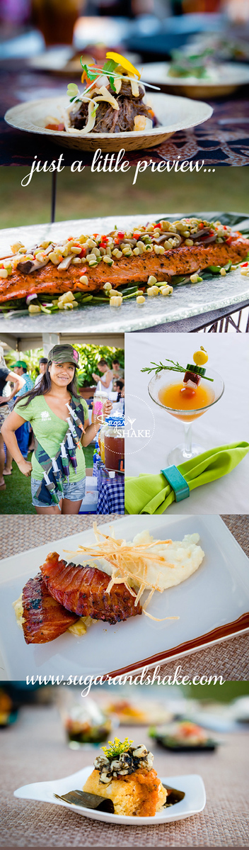 "Previews from Kā'anapali Fresh 2014. Short Rib Poutine (Raymond Nicasio, Sheraton Maui); Salmon at Mixology 101; Monica Bogar of NapiliFLO and her ""shots""; Pā'ina Cocktail (Chandra Lucariello, Southern Wine & Spirits); 'Ahi Bacon & Grits (Ikaika Manaku, Westin Maui); Corn Tamale (Raymond Nicasio, Sheraton Maui). © 2014 Sugar + Shake"