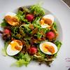 "Sunday Salad: Mixed greens with tomatoes, bacon, hard-boiled eggs and ""French-ish"" dressing. © 2015 Sugar + Shake"
