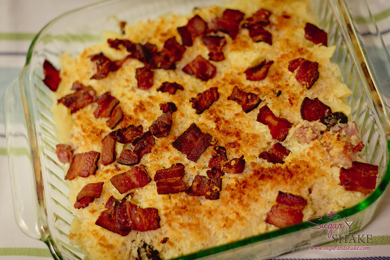 """We couldn't eat all the cheese fast enough, so Sugar made Mac & Cheese with the Naked Cow """"Big Cream Little Rind"""" cheese (it's like Brie), whiskey cheddar and Gruyere. With pancetta (not visible) and bacon. Because bacon makes everything better. © 2012 Sugar + Shake"""