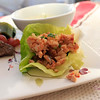 To Ban Jian Chicken in Lettuce Wraps. The lettuce came out of the box. The chicken was freakin' hand-minced because, apparently, Whole Foods does not sell ground chicken. Losers. © Sugar + Shake