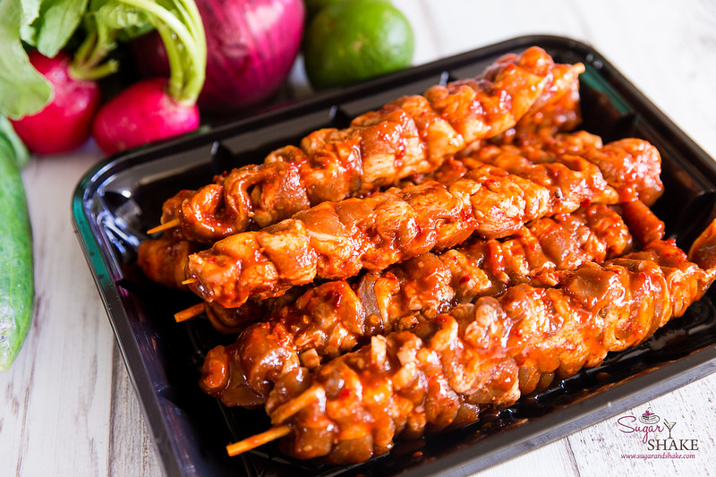 The Spicy Pork Belly skewers are a Sugar + Shake favorite. Easy to throw on the grill (or pop in the broiler), you can eat them like this, or use them to build other dishes. © 2020 Sugar + Shake