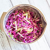 Purple Cabbage Slaw for the Fusion Tacos. (Also contains cucumbers, radishes and the Chef Essentials Citrus Squeeze Vinaigrette.) © 2020 Sugar + Shake