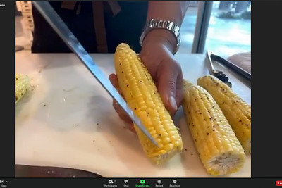 Terrible Zoom screencap from the Foodland Farms Ka Makana Aliʻi cooking demo: Chef Keoni Chang's tip -- score the center of the corn kernels (while still on the cob) to help release their sweet juices. © 2020 Sugar + Shake