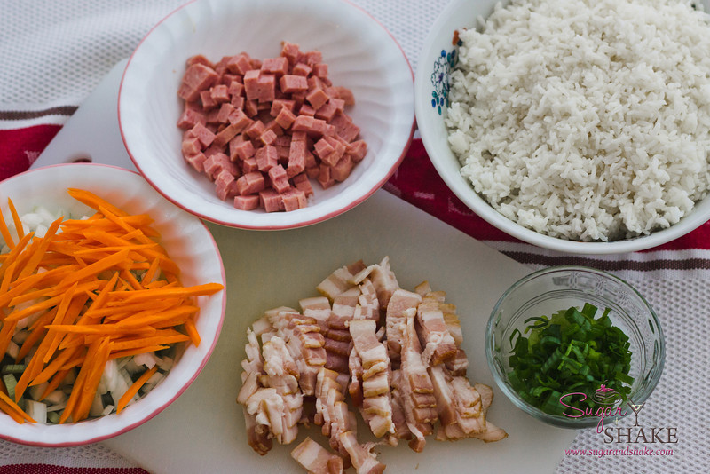 Every local family has their own version of fried rice. This is Sugar's mother's recipe. There are carrots, celery, round and green onions, SPAM and bacon. © 2012 Sugar + Shake