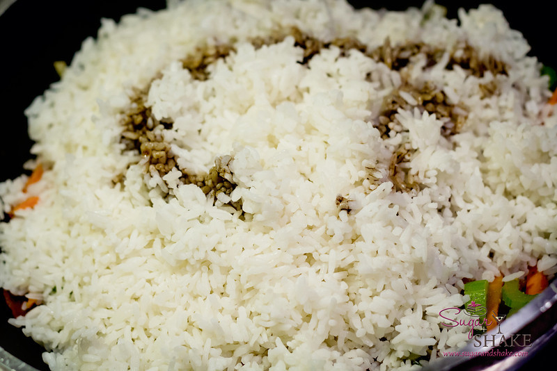 A moderate amount of shoyu (soy sauce) and old rice. © 2012 Sugar + Shake