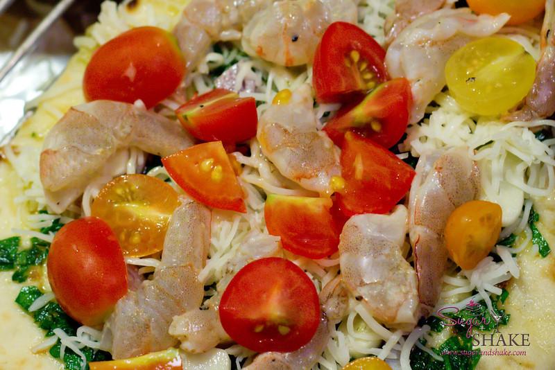 Mojo Shrimp Pizza with Tomatoes, Garlic & Parsley. © 2012 Sugar + Shake