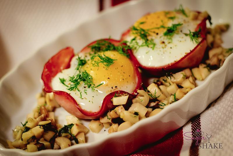 Ham 'n' Egg Cups with Ali'i (king oyster) Mushroom Filling. © 2012 Sugar + Shake